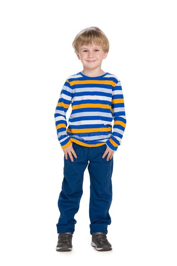 逗人喜爱的时尚小男孩 免版税图库摄影