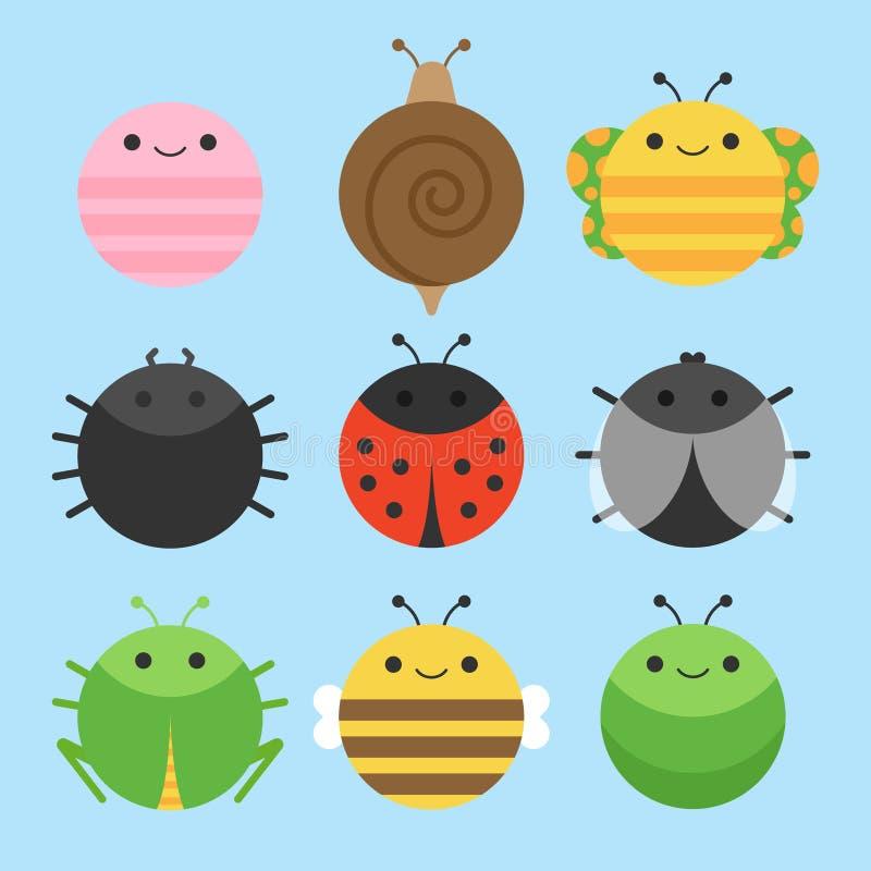 逗人喜爱的昆虫动物圆的传染媒介象集合 皇族释放例证