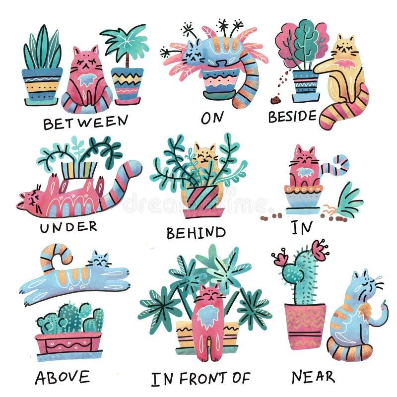 逗人喜爱的明亮的手拉的猫字符用与植物罐的不同的姿势 地方英语的介词 学习外国 皇族释放例证