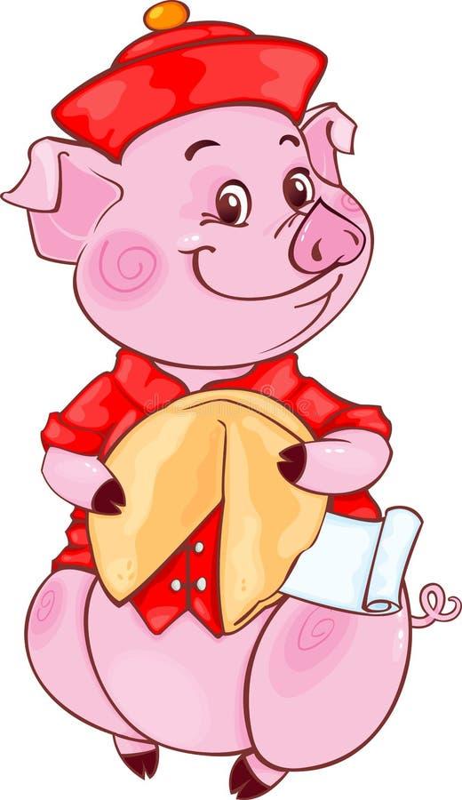 逗人喜爱的普通话猪用签饼新年2019年 剪切 库存图片
