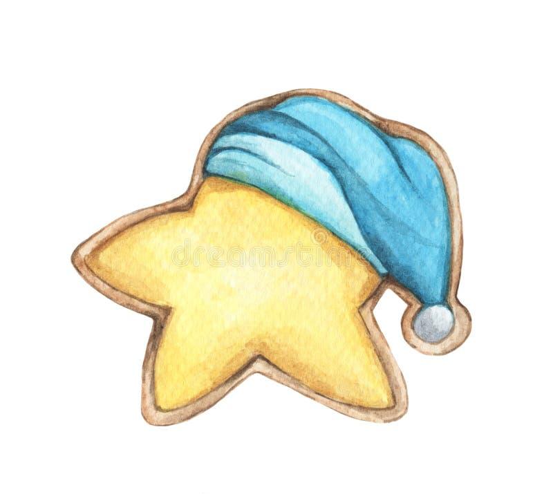 逗人喜爱的曲奇饼在睡帽担任主角 皇族释放例证