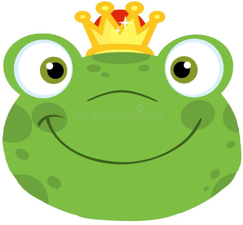 逗人喜爱的有冠的青蛙微笑的头 库存例证