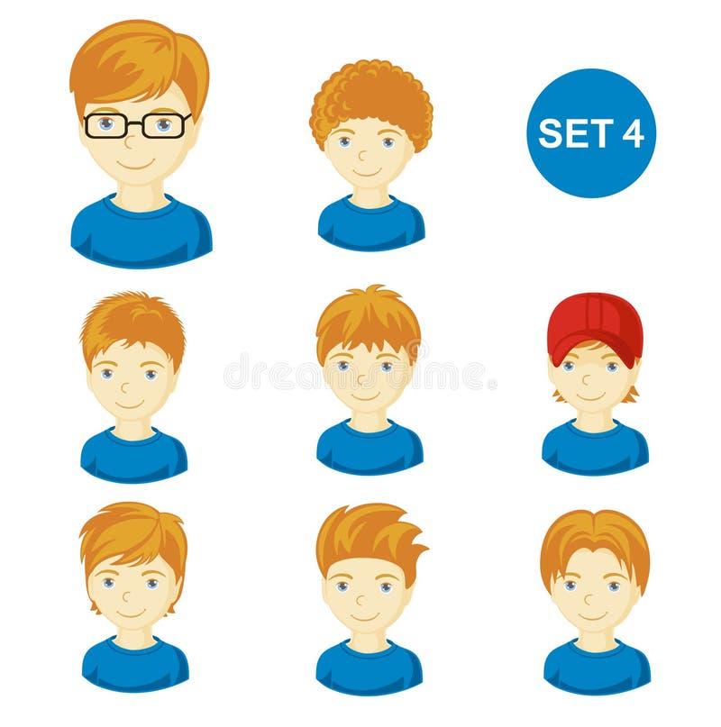 逗人喜爱的有各种各样的发型的姜小男孩 皇族释放例证