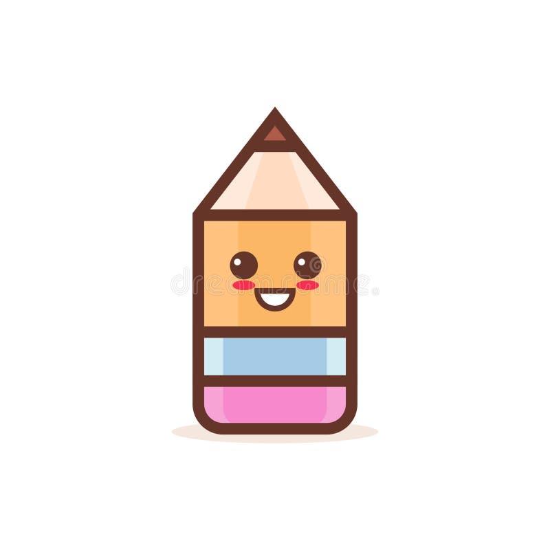 逗人喜爱的木与笑容愉快的emoji kawaii样式的铅笔擦字橡皮动画片喜剧人物回到学校 库存例证