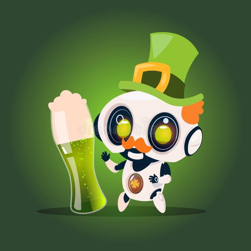 逗人喜爱的机器人举行杯在绿色背景St Patricks天庆祝概念的啤酒 向量例证
