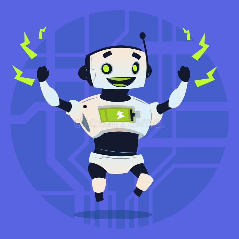逗人喜爱的机器人愉快的微笑的充分的电池充电现代人工智能技术概念 向量例证
