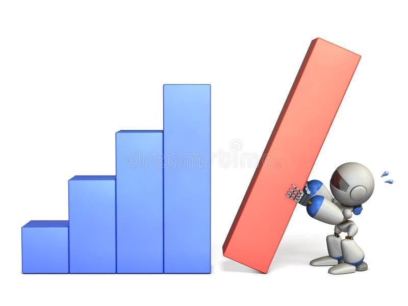 逗人喜爱的机器人有许多努力 它是取得的优秀结果 向量例证