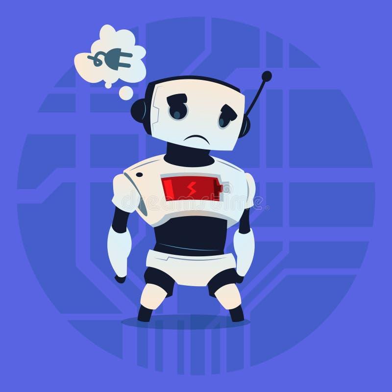 逗人喜爱的机器人疲倦的低电池充电现代人工智能技术概念 库存例证