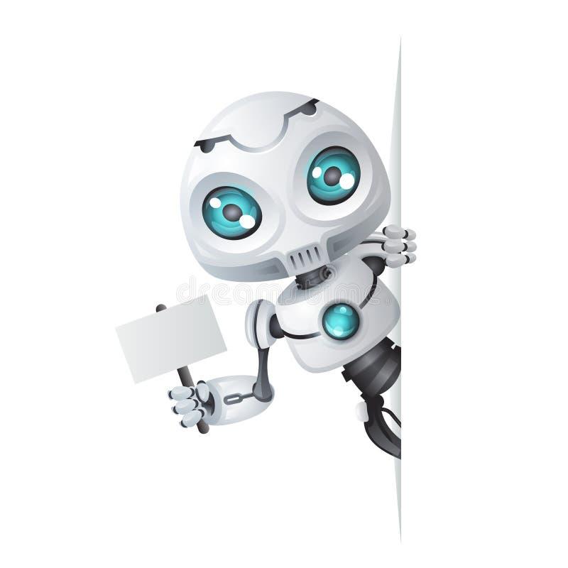 逗人喜爱的机器人神色壁角技术科幻互联网联机帮助技巧maskot 3d设计传染媒介例证 向量例证