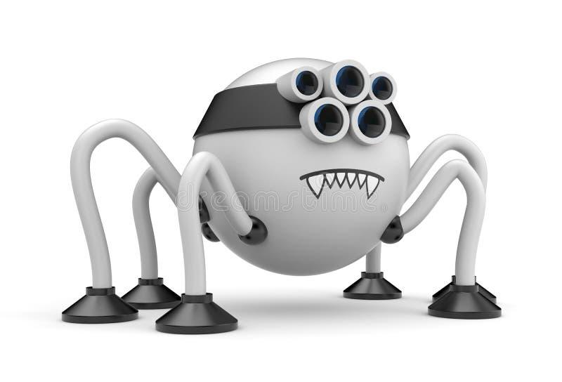 逗人喜爱的机器人蜘蛛 向量例证
