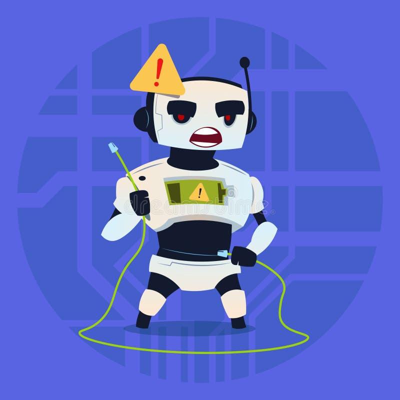逗人喜爱的机器人错误连接问题现代人工智能技术概念 皇族释放例证