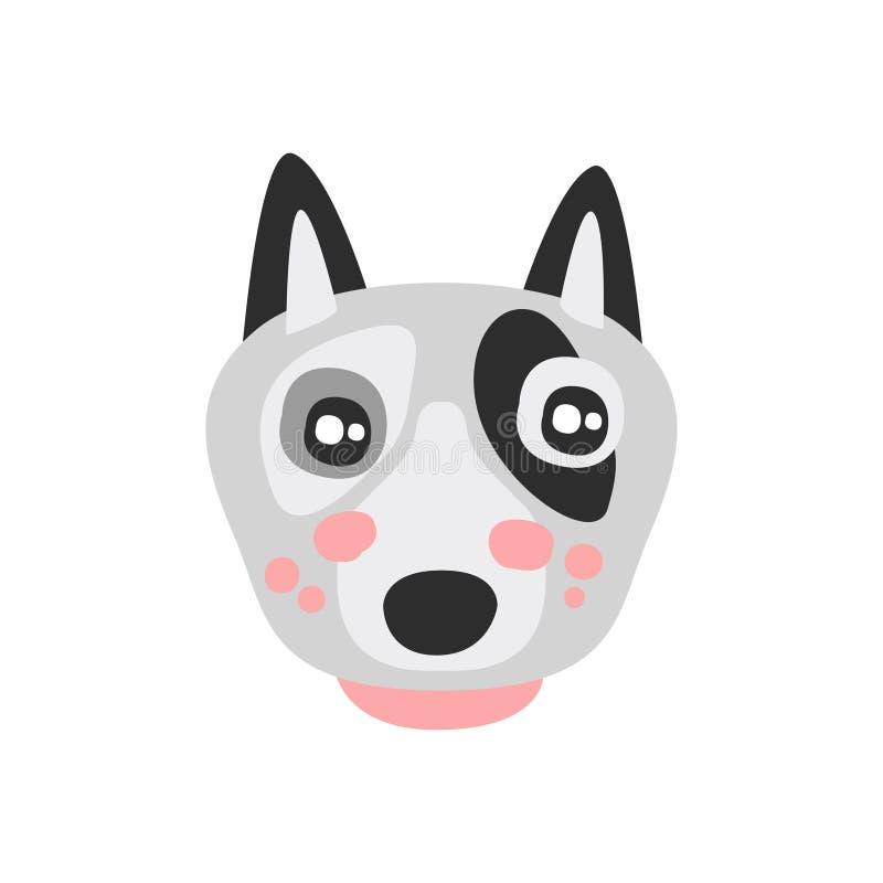 逗人喜爱的杂种犬狗面孔,滑稽的动画片动物字符,可爱的国内宠物传染媒介例证 皇族释放例证
