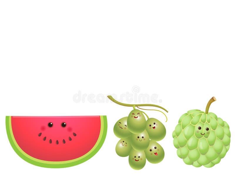 逗人喜爱的果子西瓜,葡萄,南美番荔枝 向量例证