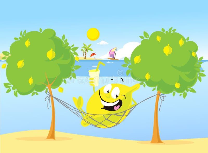 逗人喜爱的柠檬字符有休息在海滩的吊床-传染媒介 图库摄影