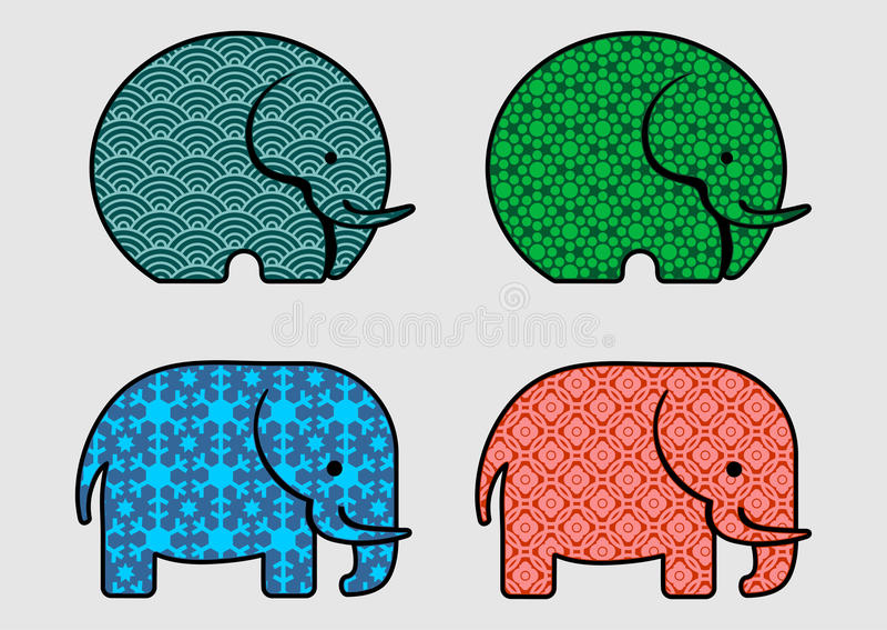 逗人喜爱的样式大象 免版税库存照片