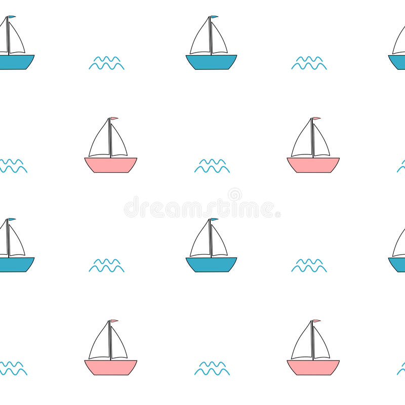 逗人喜爱的桃红色和蓝色动画片小船无缝的样式背景例证 库存例证