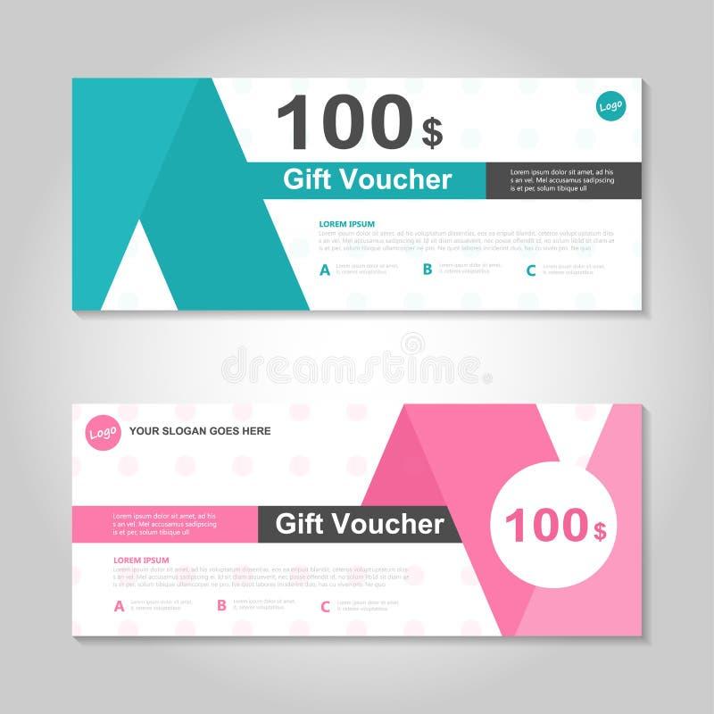 逗人喜爱的桃红色和绿色礼券模板布局设计集合,证明折扣购物的优惠券样式 向量例证