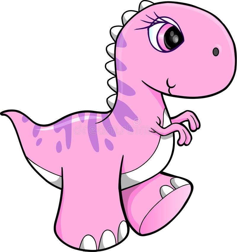 逗人喜爱的桃红色恐龙传染媒介 向量例证