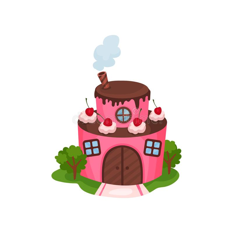 逗人喜爱的桃红色房子以两层蛋糕的形式与木门和窗口的 奶油和樱桃在巧克力屋顶 动画片 库存例证