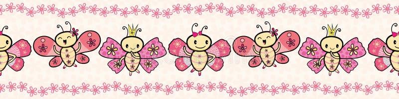 逗人喜爱的桃红色手拉的与花卉边缘的Kawaii样式跳舞的蝴蝶边界 在奶油色花的无缝的传染媒介样式 向量例证
