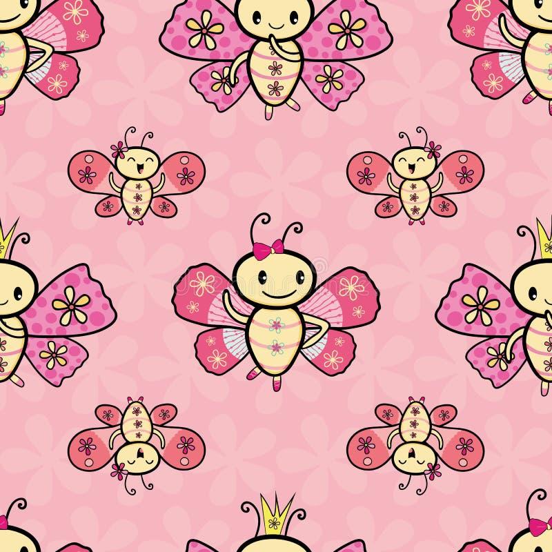 逗人喜爱的桃红色手拉的Kawaii样式跳舞的蝴蝶设计 在织地不很细花的无缝的几何传染媒介样式 向量例证