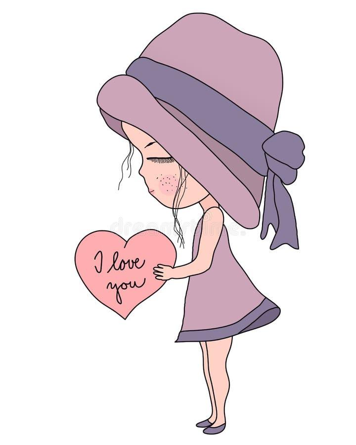 逗人喜爱的桃红色拿着与文本的帽子和礼服的动画片小女孩心脏我爱你,简单的平的甜传染媒介例证 库存例证