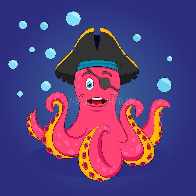 逗人喜爱的桃红色海盗章鱼 传染媒介被隔绝的例证 库存例证