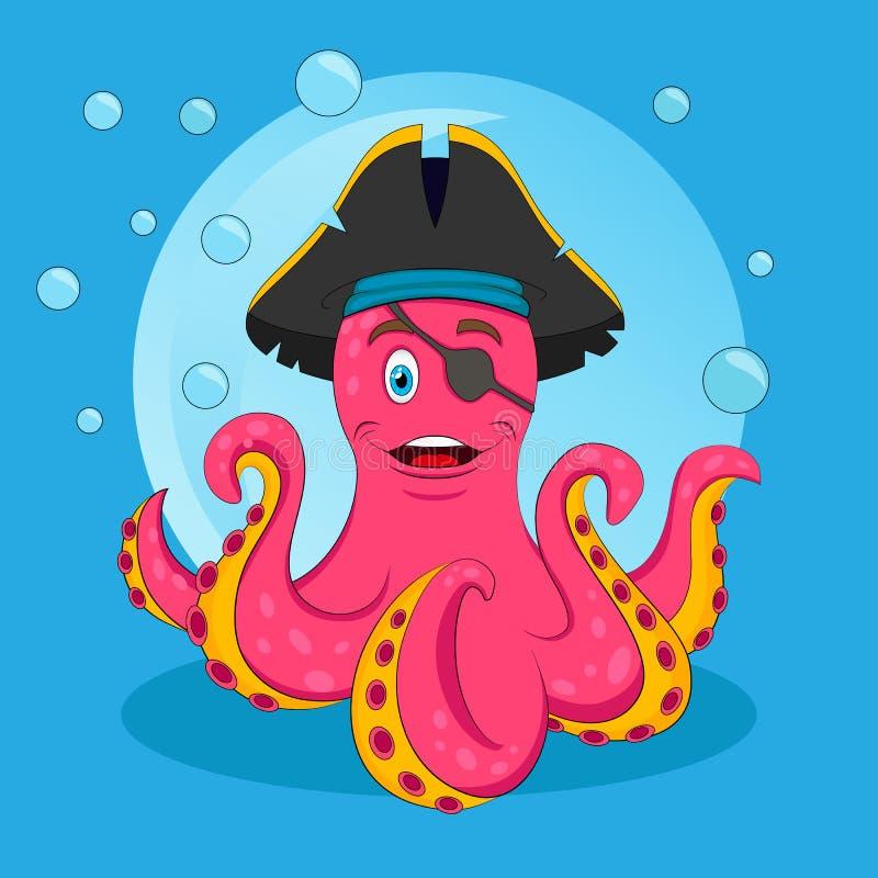 逗人喜爱的桃红色海盗章鱼 传染媒介被隔绝的例证 T恤杉或儿童图书的印刷品 库存例证