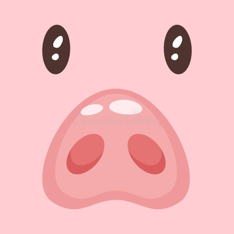逗人喜爱的桃红色猪fac 库存例证