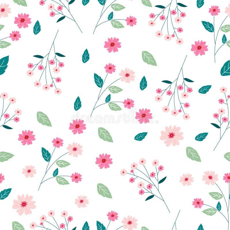 逗人喜爱的桃红色花无缝的样式背景 库存例证