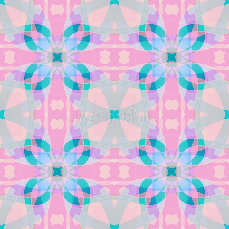 逗人喜爱的桃红色蓝色分数维根据抽象纹理 方形的无缝的瓦片 详细的背景例证 家庭装饰织品设计sa 皇族释放例证