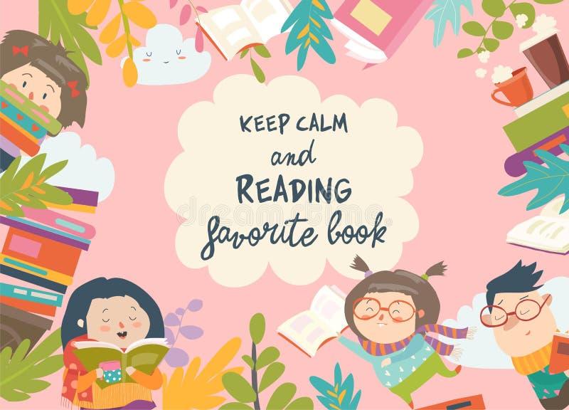 逗人喜爱的框架组成由儿童阅读书 库存例证