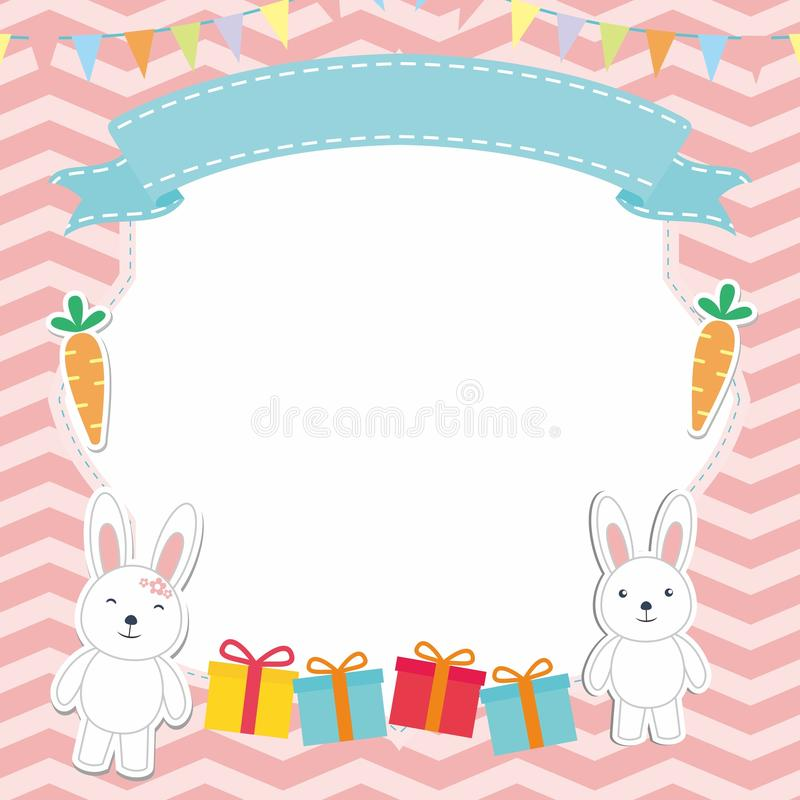 逗人喜爱的框架/边界与可爱的兔子/兔宝宝传染媒介 向量例证