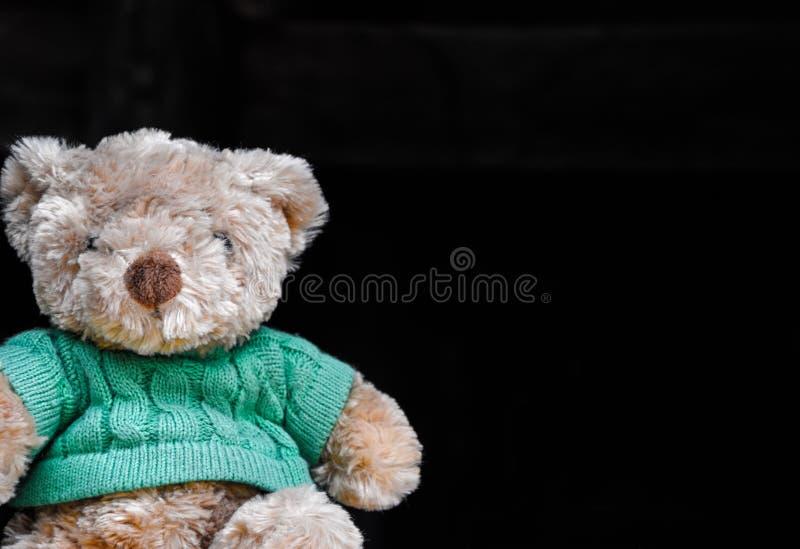 逗人喜爱的棕色玩具熊在黑背景上把绿色衬衣放 库存图片