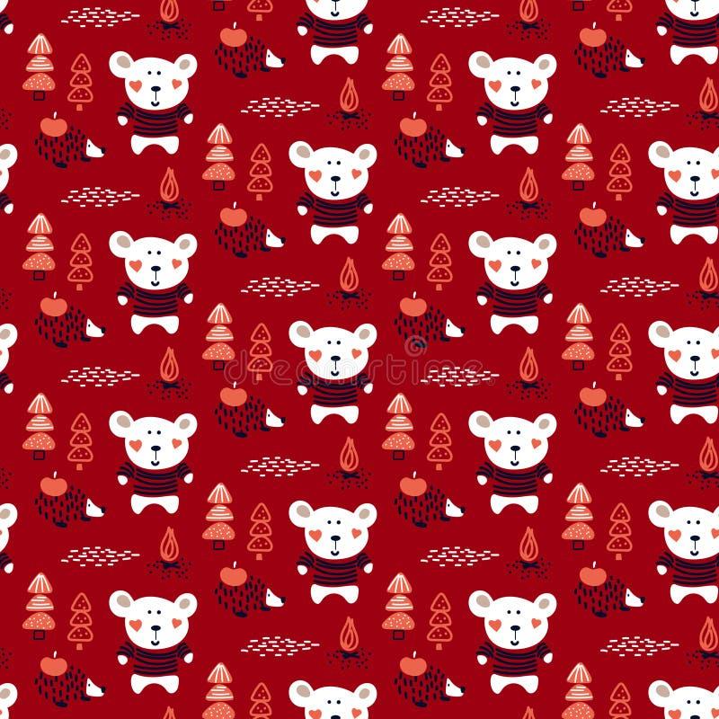 逗人喜爱的森林动物婴孩熊和猬在森林无缝的传染媒介样式 皇族释放例证