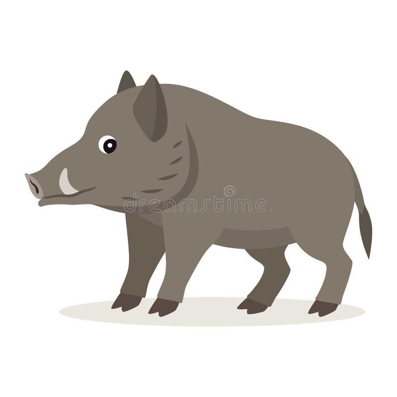 逗人喜爱的森林动物,在白色背景隔绝的灰色公猪象 向量例证