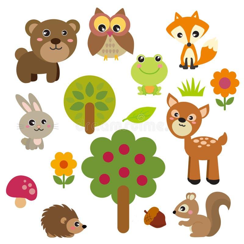 逗人喜爱的森林动物 向量例证