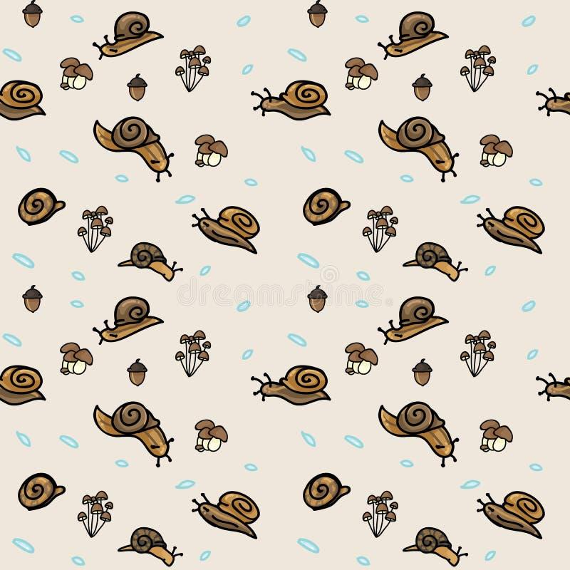 逗人喜爱的森林地蜗牛和蘑菇动画片无缝的传染媒介样式 手拉的庭院虫瓦片 在escargot博克的印刷品, 库存例证