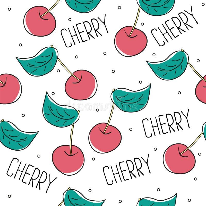 逗人喜爱的樱桃无缝的样式 好为纺织品,包裹,墙纸 皇族释放例证