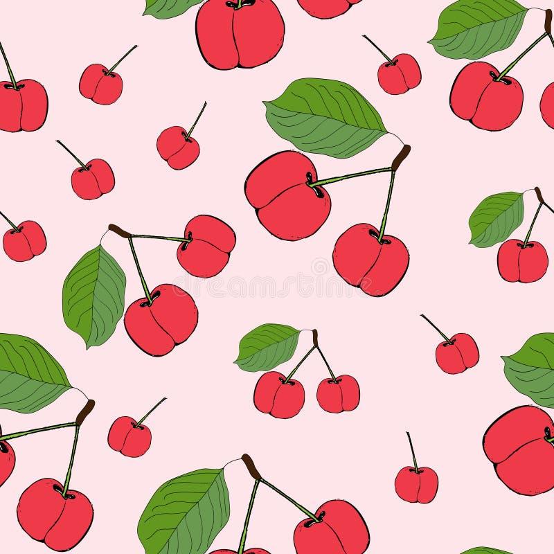逗人喜爱的樱桃无缝的样式 有益于纺织品,包裹,墙纸等等 在桃红色背景隔绝的甜红色成熟樱桃 Ve 库存例证