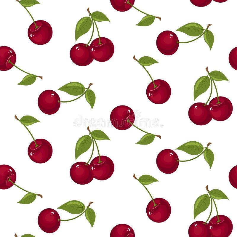 逗人喜爱的樱桃无缝的样式 有益于纺织品,包裹,墙纸等等 在白色背景隔绝的甜红色成熟樱桃 库存例证