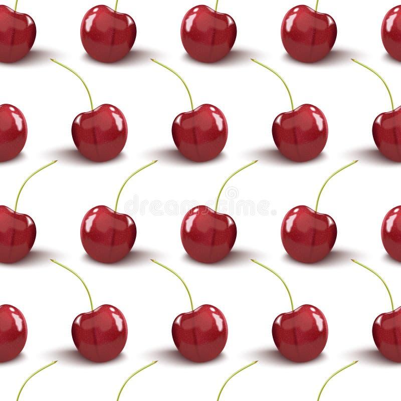 逗人喜爱的樱桃无缝的样式 有益于纺织品,包裹,墙纸等等 在白色隔绝的甜红色成熟樱桃 库存例证
