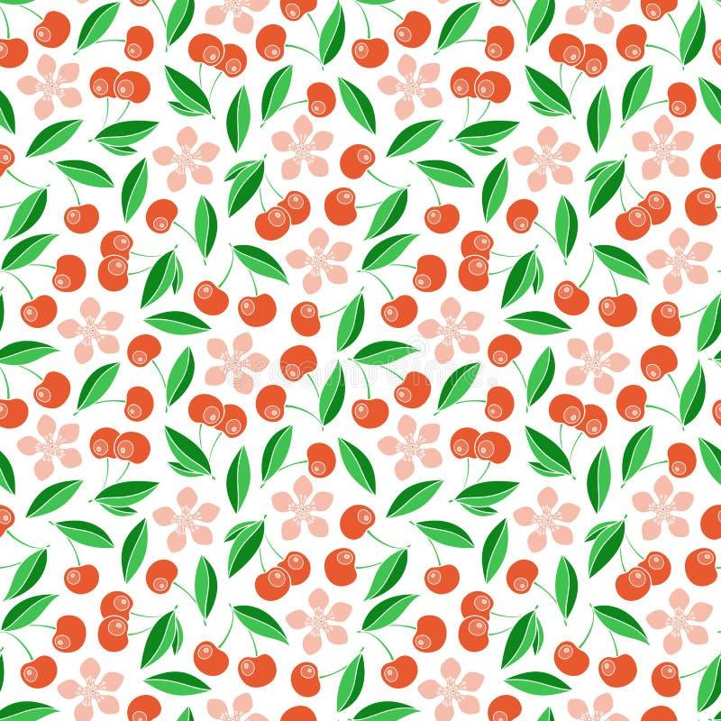 逗人喜爱的樱桃无缝的样式 库存例证