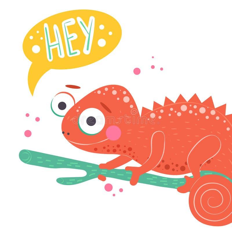 逗人喜爱的橙色变色蜥蜴在绿色分支和与词嘿坐白色背景,传染媒介例证 动画片 库存例证