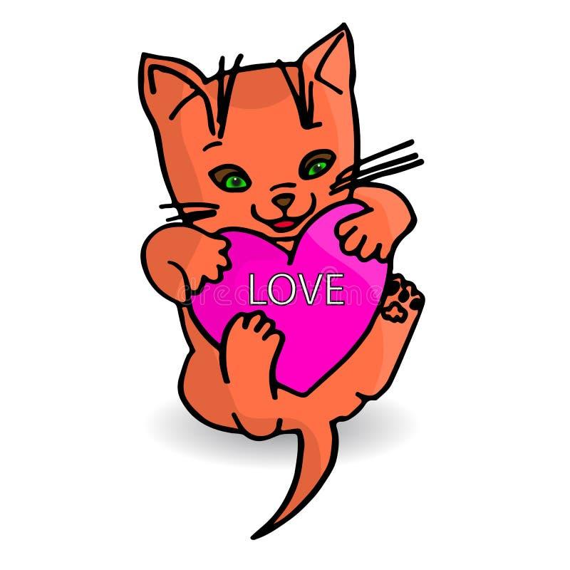 逗人喜爱的橙色小猫,在爪子的心脏爱,在白色backg的动画片 向量例证
