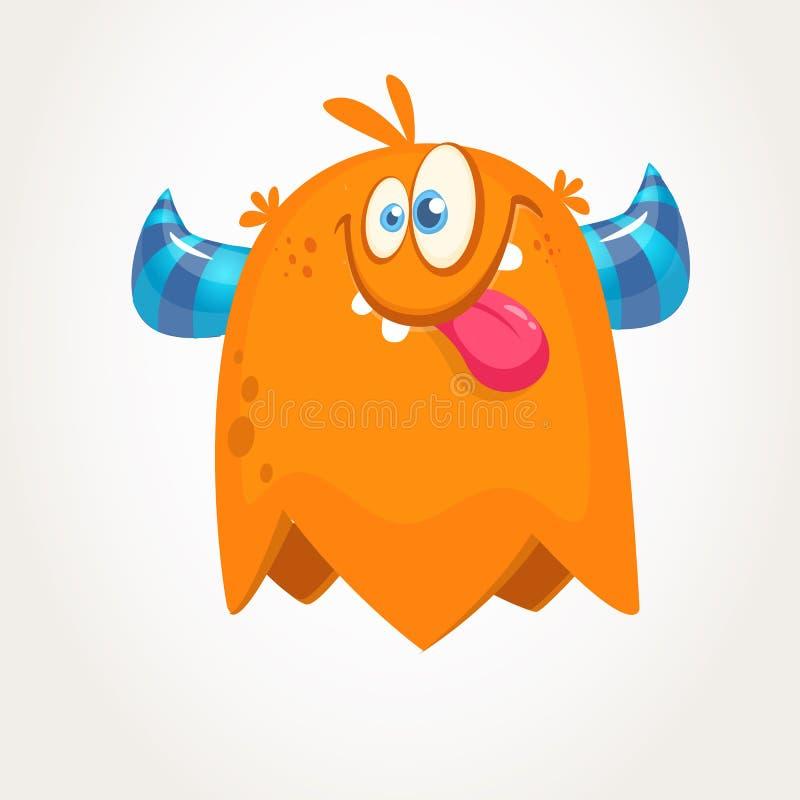 逗人喜爱的橙色有角的动画片妖怪 显示舌头的滑稽的飞行妖怪 万圣节向量例证 库存例证