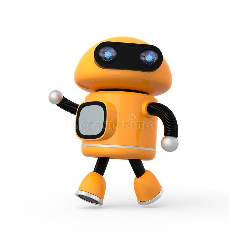 逗人喜爱的橙色机器人 皇族释放例证