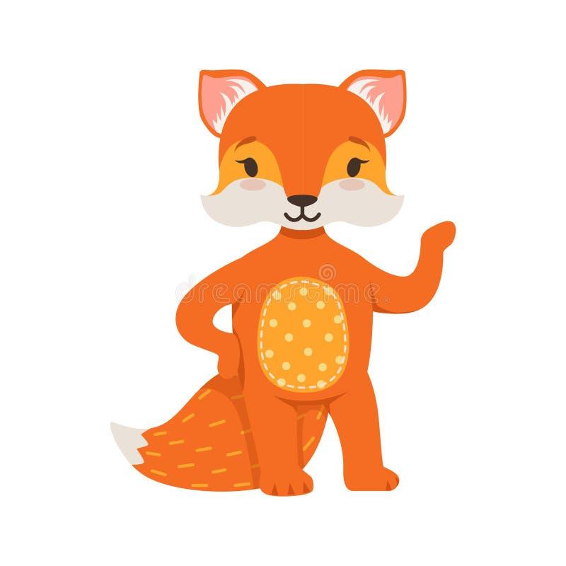 逗人喜爱的橙色狐狸字符身分,滑稽的动画片森林动物摆在的传染媒介例证 皇族释放例证