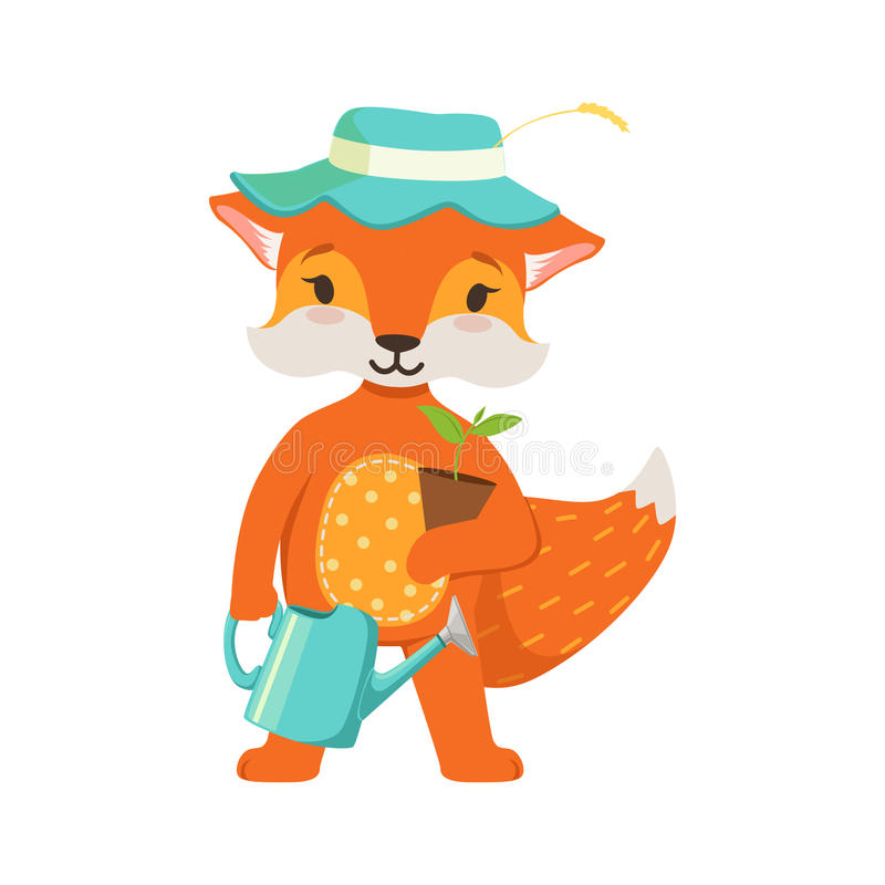 逗人喜爱的橙色狐狸花匠字符、滑稽的动画片森林动物摆在与喷壶的和花盆传染媒介 库存例证