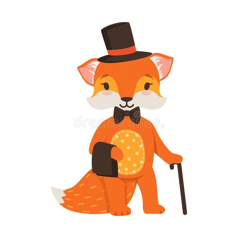 逗人喜爱的橙色狐狸绅士字符、滑稽的动画片森林动物摆在黑帽会议的和藤茎导航例证 向量例证